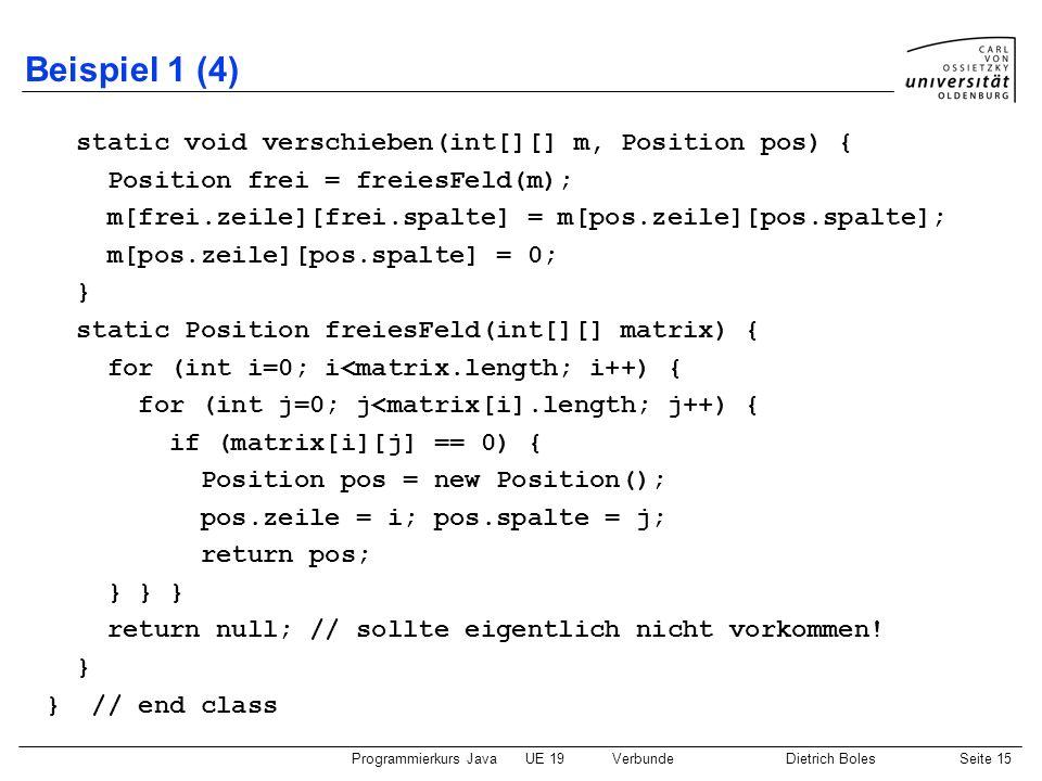 Beispiel 1 (4) static void verschieben(int[][] m, Position pos) {